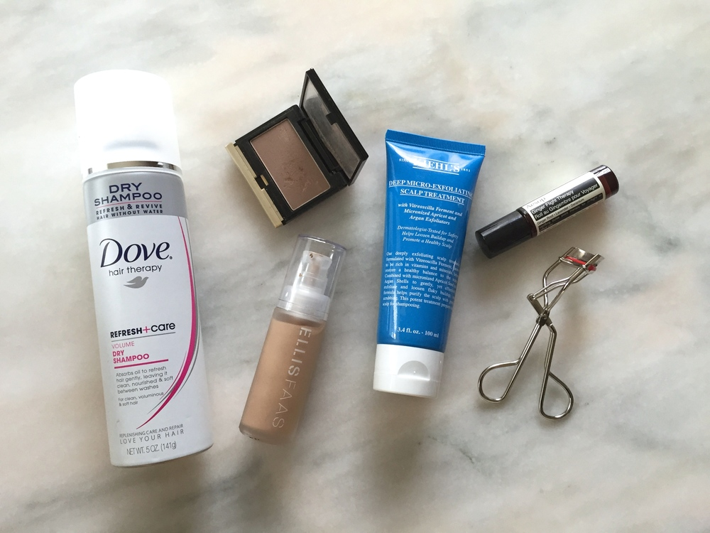 Dove Refresh & Care Volume Dry Shampoo, Kevyn Aucoin Sculpting Powder, Ellis Faas Skin Veil Foundation, Kiehl's Deep Micro Exfoliating Scalp Treatment, Aesop Ginger Flight Therapy, Kevyn Aucoin Eyelash Curler
