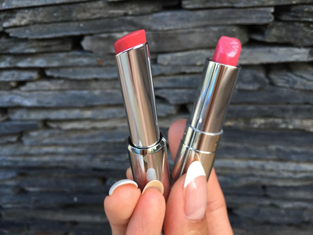 L-R:Givenchy Le Rouge a Porter Lipstickin #206 Corail Decollete , Dior Addict Lipstick in #578 Dior Kiss