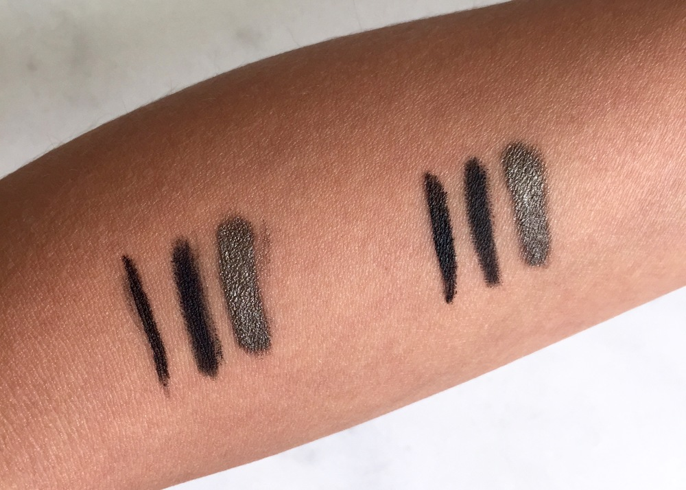 Swatches L-R: Kevyn Aucoin The Precision Liquid Liner, Nars Larger Than Life Liner in Via Veneto, and Laura Mercier Caviar Stick in Khaki