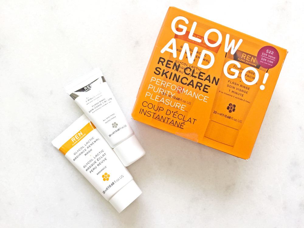 Ren Glow & Go: Glycol Lactic Radiance Renewal Mask, Flash Rinse 1 Minute Facial