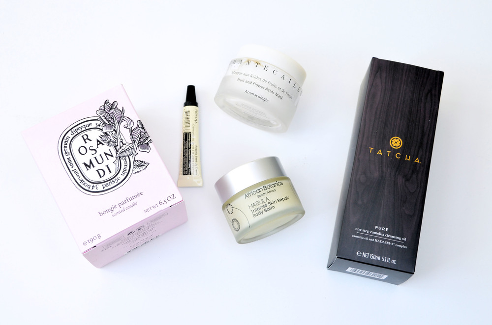 Diptyque Rosamundi, Aesop Rosehip Seed Lip Cream, Chantecaille Fruit & Flower Acids Mask, African Botanics Intense Skin Repair Body Balm, Tatcha Pure One Step Camellia Cleansing Oil