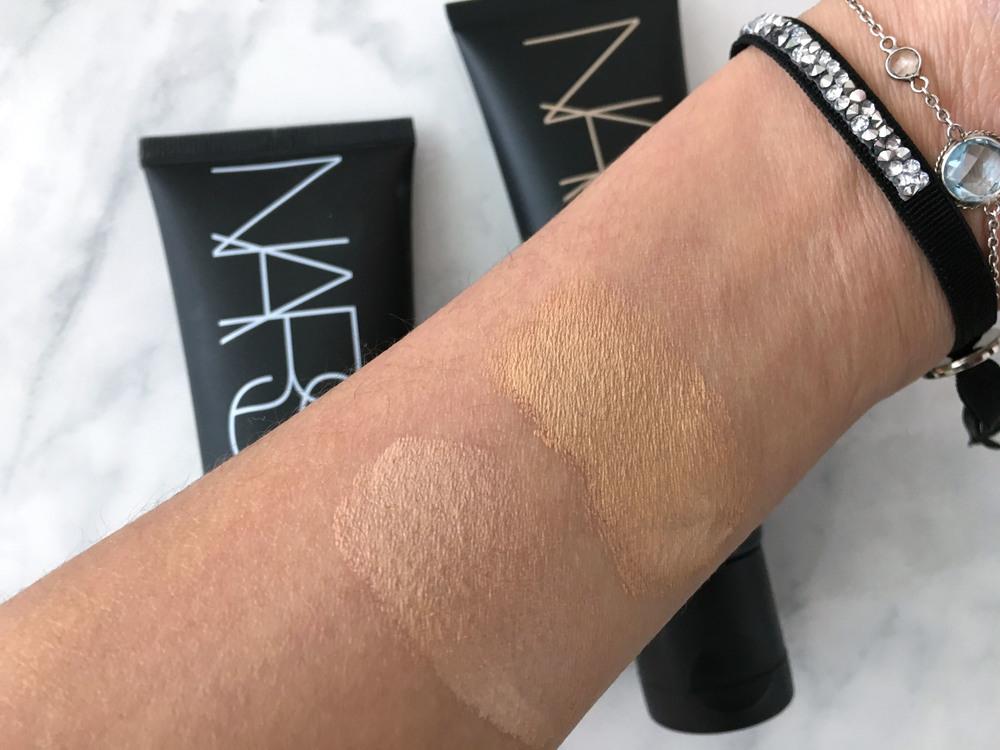 Swatches L-R: Nars Pure Radiant Tinted Moisturizer in Groenland, Nars Velvet Matte Skin Tint in St. Moritz