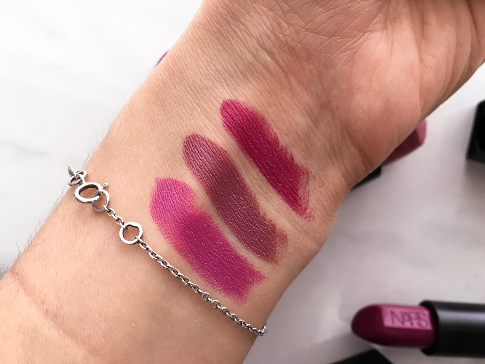 Swatches L-R: Nars Audacious Lipstick in Silvia, Anna, Fanny