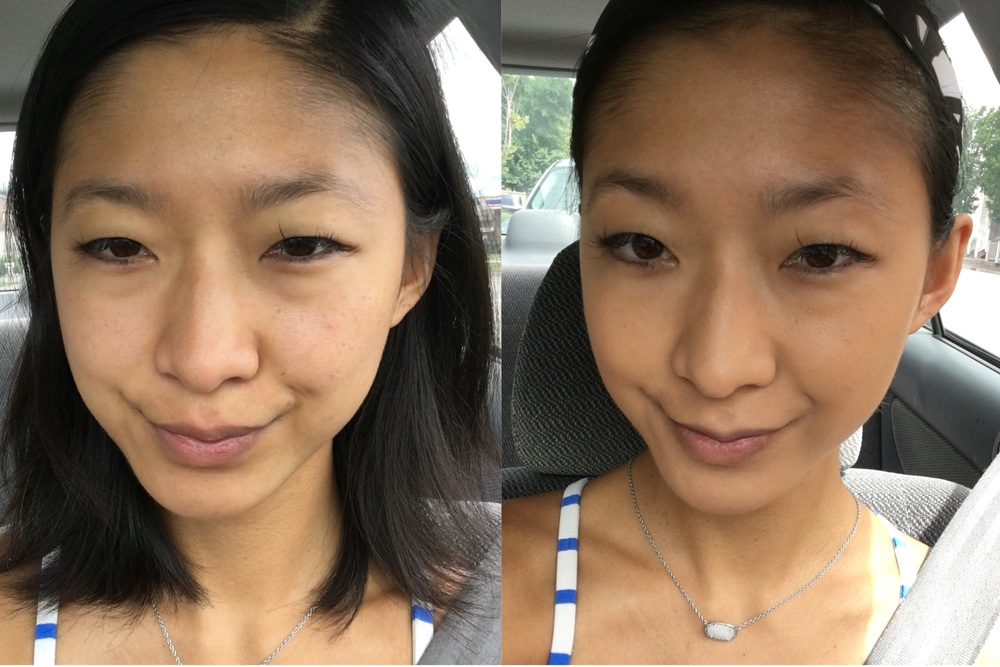 Hourglass Vanish Foundation Stick before & after