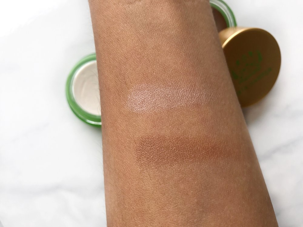 Swatches, Top to Bottom: Tata Harper Very Illuminating Cheek Tint, Tata Harper Very Bronzing Cheek Tint