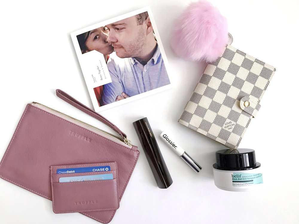 Truffle Privacy Clutch & Card Case Duo, Artifact Uprising Square Photo Book, Louis Vuitton PM Agenda in Damier Azur, Hourglass Vanish Seamless Finish Foundation Stick, Glossier Boy Brow, Belif First Aid Anti-Hangover Soothing Mask