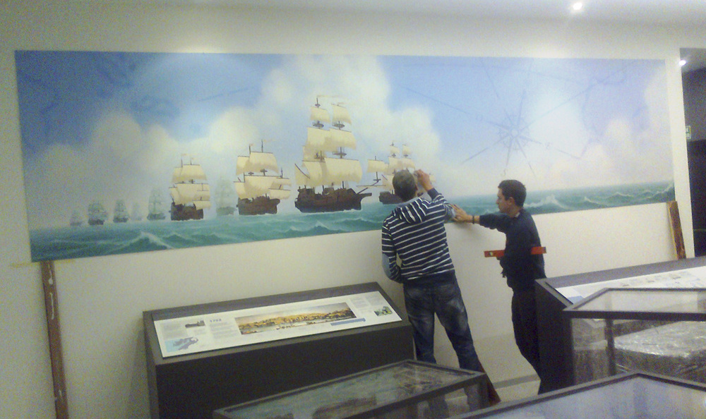 Durante la instalación - Setting up the exhibition