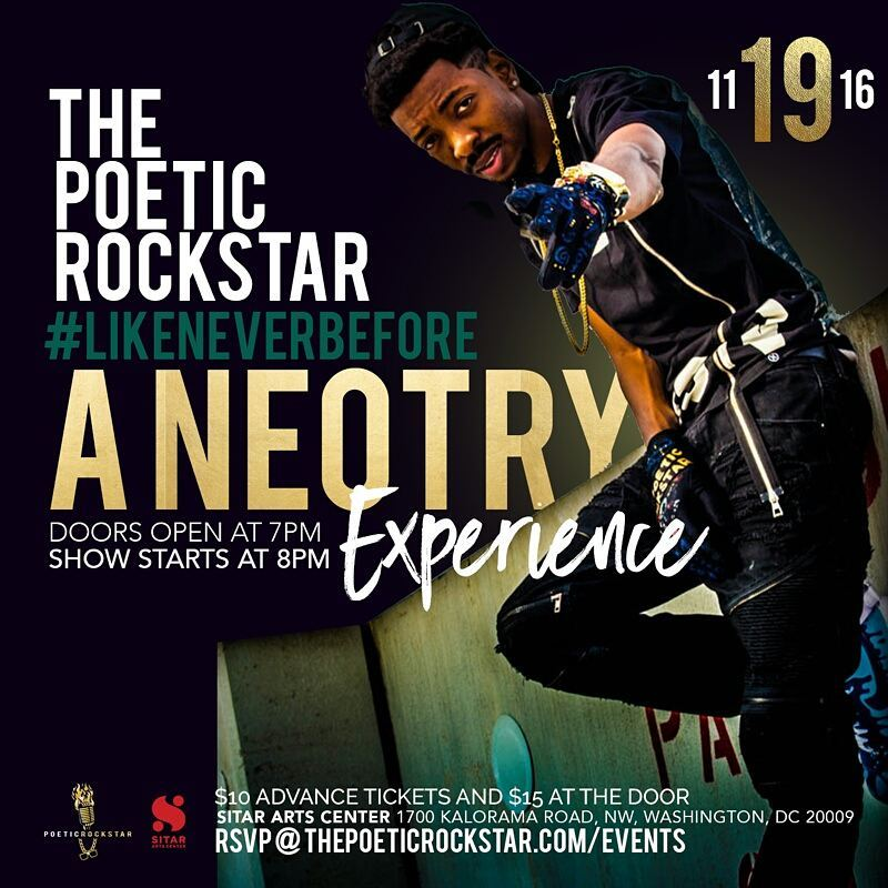 A Neotry Saturday, Nov 19th 8:oopm - 9:3opm Sitar Arts Center | 1700 Kalorama Rd. NW | Washington,DC 20009   Tickets