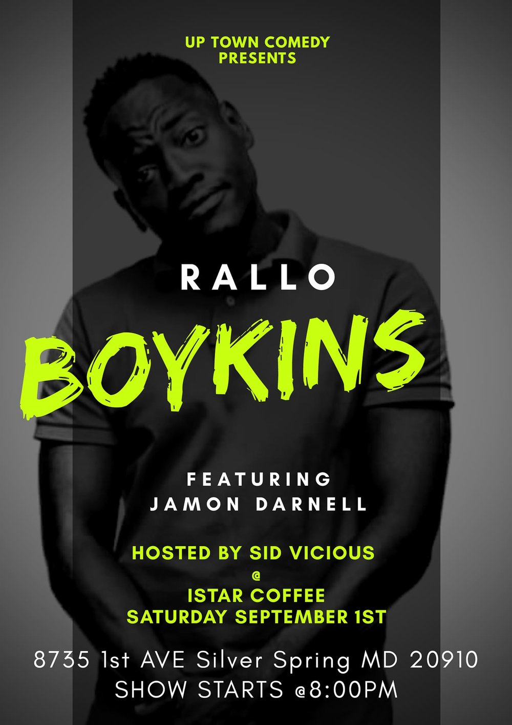 Uptown Comedy Presents: Rallo Saturday, Sept 1st 8:oopm-1o:oopm Istar Coffee| 8735 1st Ave Silver Spring | Silver Spring, MD 20910   Tickets