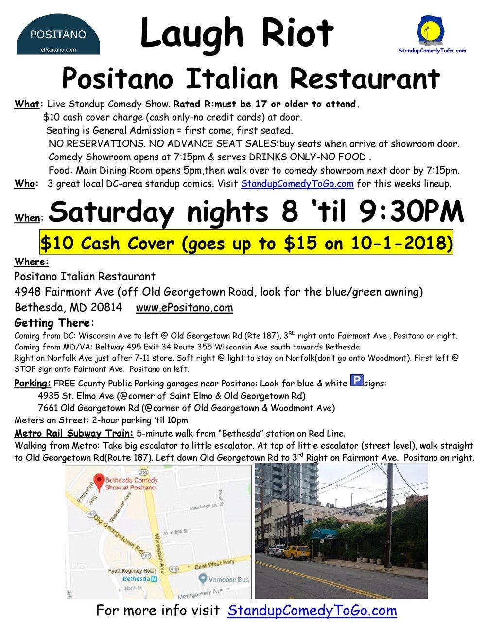 Laugh Riot Sunday, Nov 3rd 8:oopm-9:3opm  Bethesda Positano | 4948 Fairmont Ave. | Bethesda, MD 20814