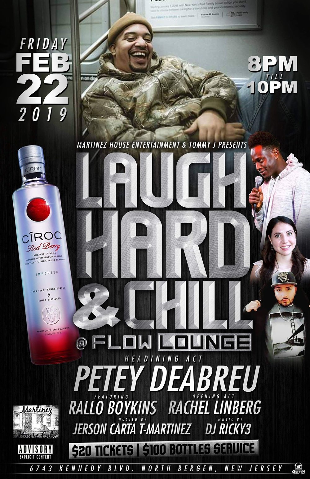 Laugh Hard and Chill Friday, Feb 22th 8:oopm-1o:oopm Flow Lounge | 6743 Kennedy Blvd | North Bergen, NJ 07047