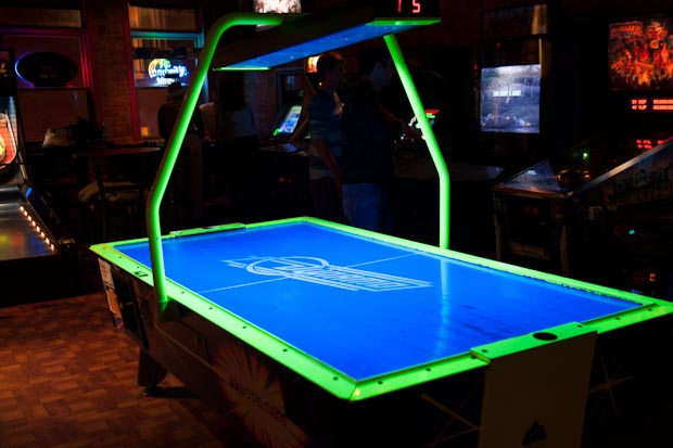 A vintage regulation air hockey table. Host to weekly air hockey tournaments.