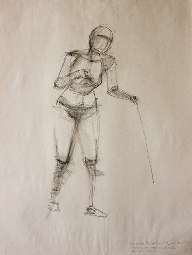 5-minute gesture drawing of a female figure