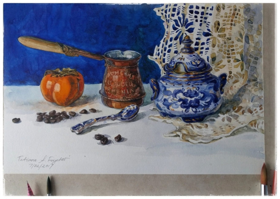 A morning still-life with an Armenian cezve, a Russian gzhel sugar bowl, an Israeli sharon fruit, and Arabica coffee beans. 2017