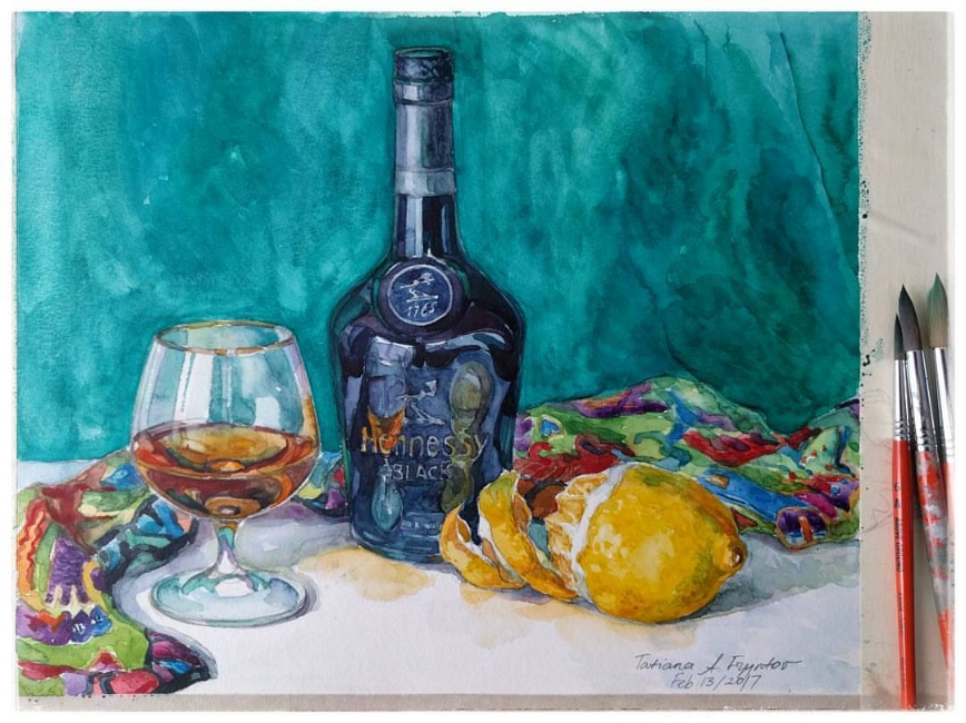 Turquoise mini still-life with a Hennessy Black bottle. 2017