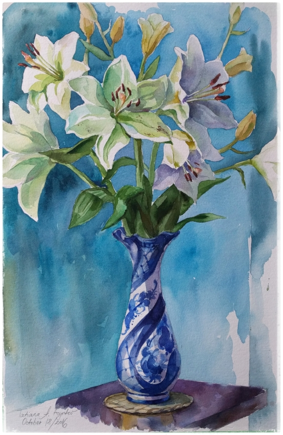 White lilies in a gzhel vase. 2016