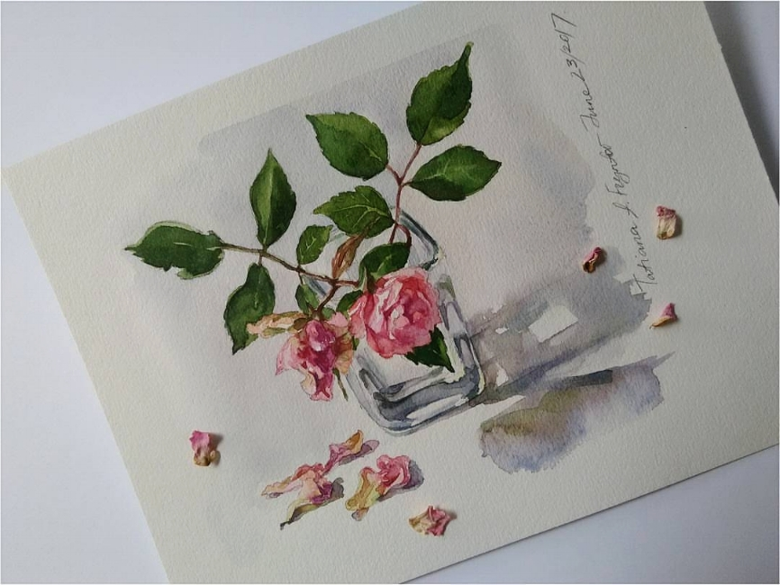 Mini Still-Life with the Tiny Branch of Bonica Rose