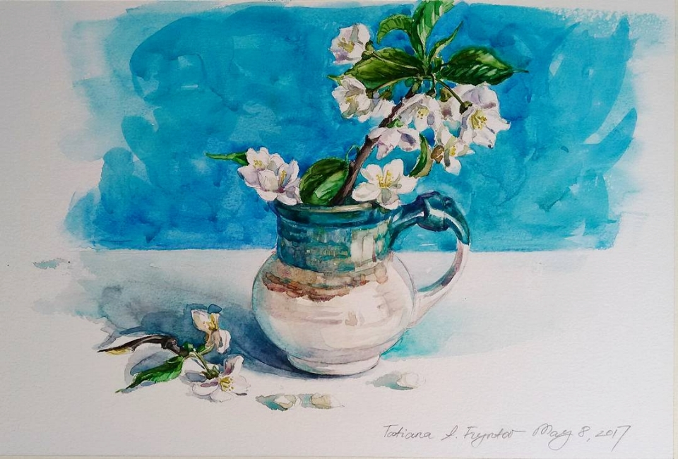The Blue Still-Life with Cherry Blossom