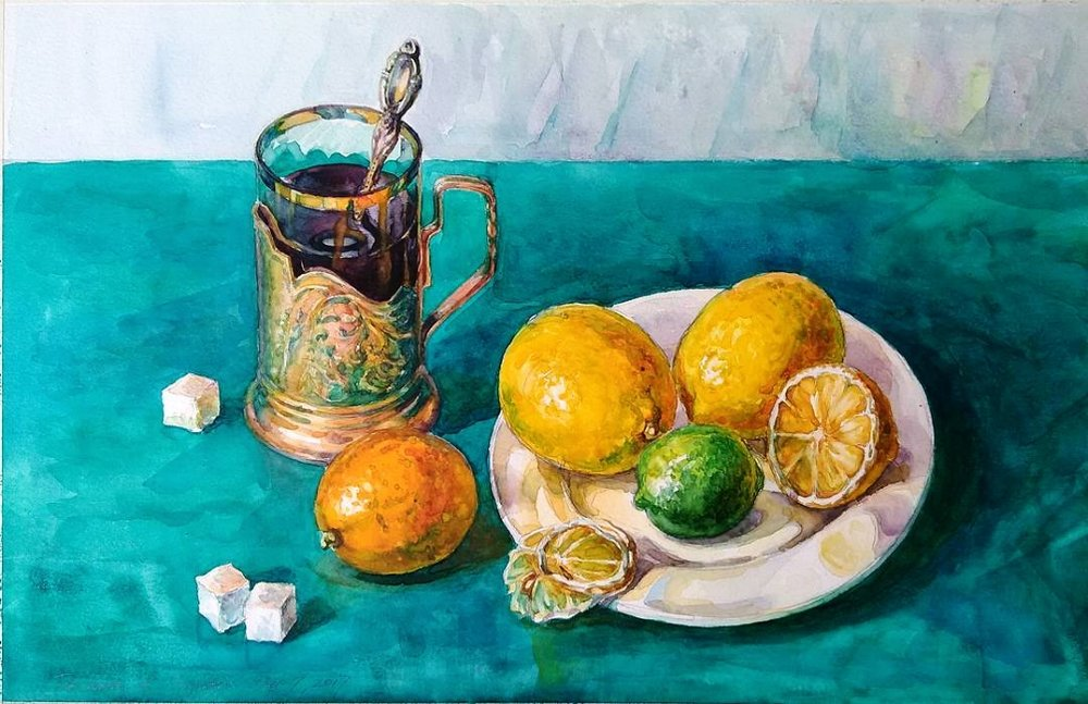 The Still-Life with Citruses and Tea in a Golden Cupholder