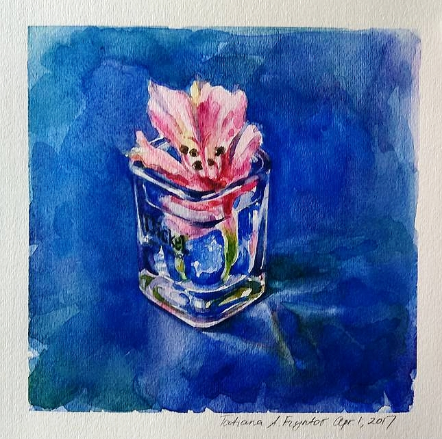 The Tender Alstroemeria Flower in a Dickel Whisky Shot Glass