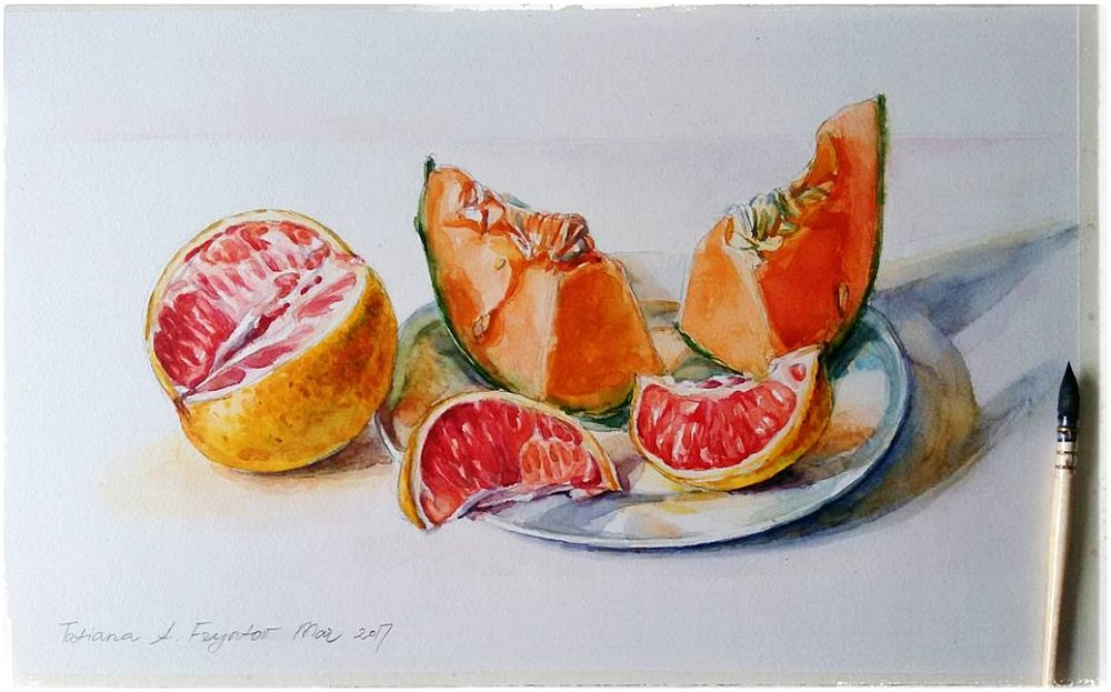Still-Life with the Cut Grapefruit and the Slices of the Cantaloupe