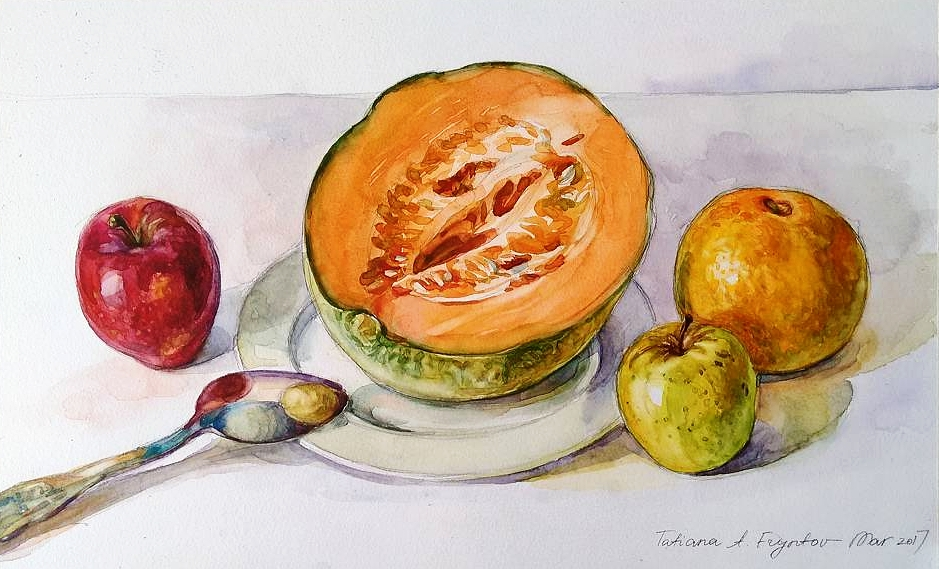Still-Life with the Apples, a Cantaloupe, and a Grapefruit