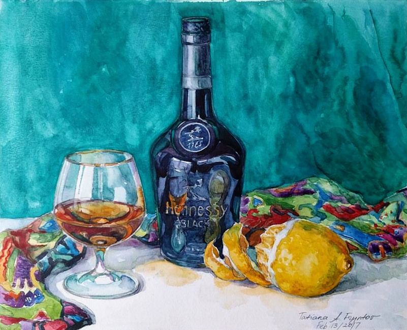 Emerald Still-Life with the Hennessy Black Bottle