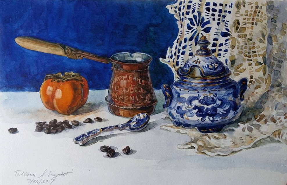 The Morning Still-Life with an Armenian Cezve, a Russian Gzhel Sugar-Bowl, an Israeli Sharon Fruit, and Arabica Coffee Beans