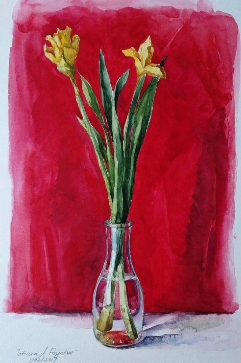 The Daffodils on a Red Backdrop