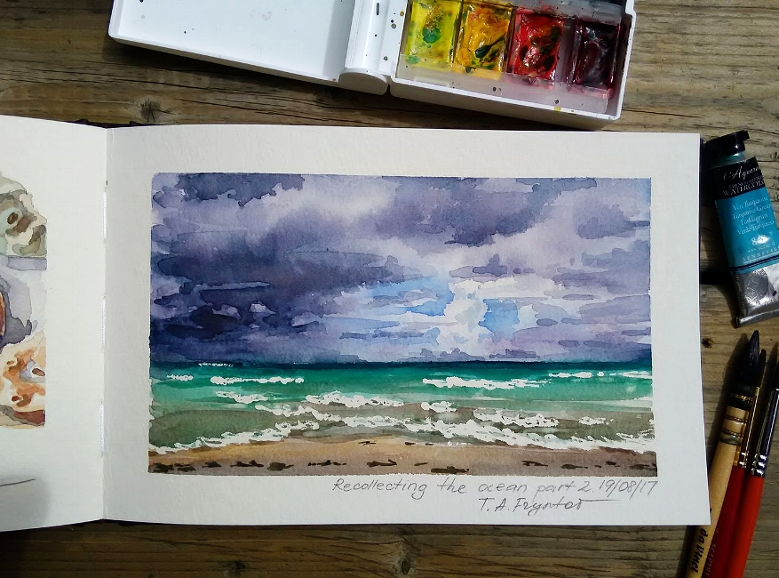 Recollecting the Ocean. Part 2. Painterly Thunder Sky over the Beach in Hollywood, Florida