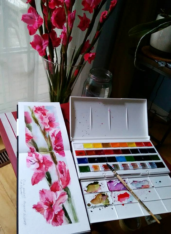 The pink gladioli live and in my sketchbook