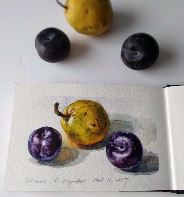 Black Plums and a Pear