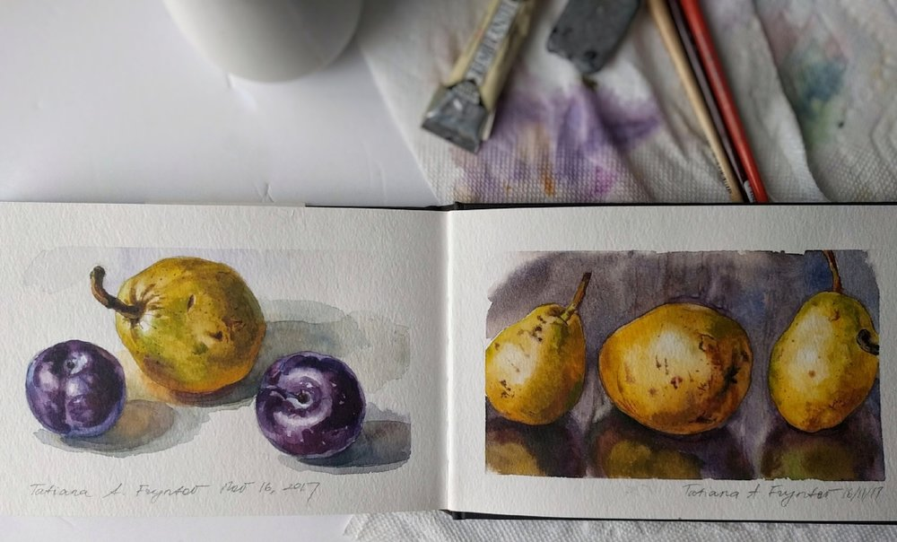 Spreadsheet of the sketchbook with plums and pears