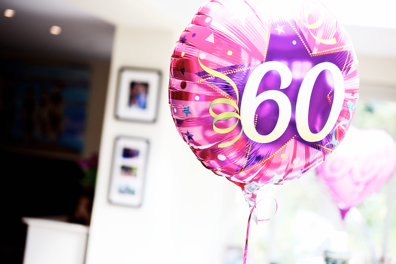 60th birthday helium balloon