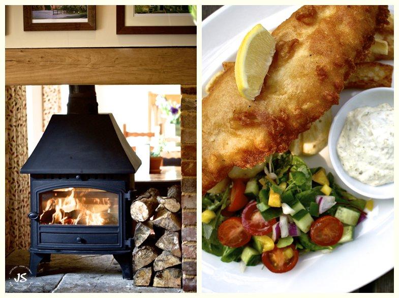 The Royal Exchange Hartbury log burner and fish and chips