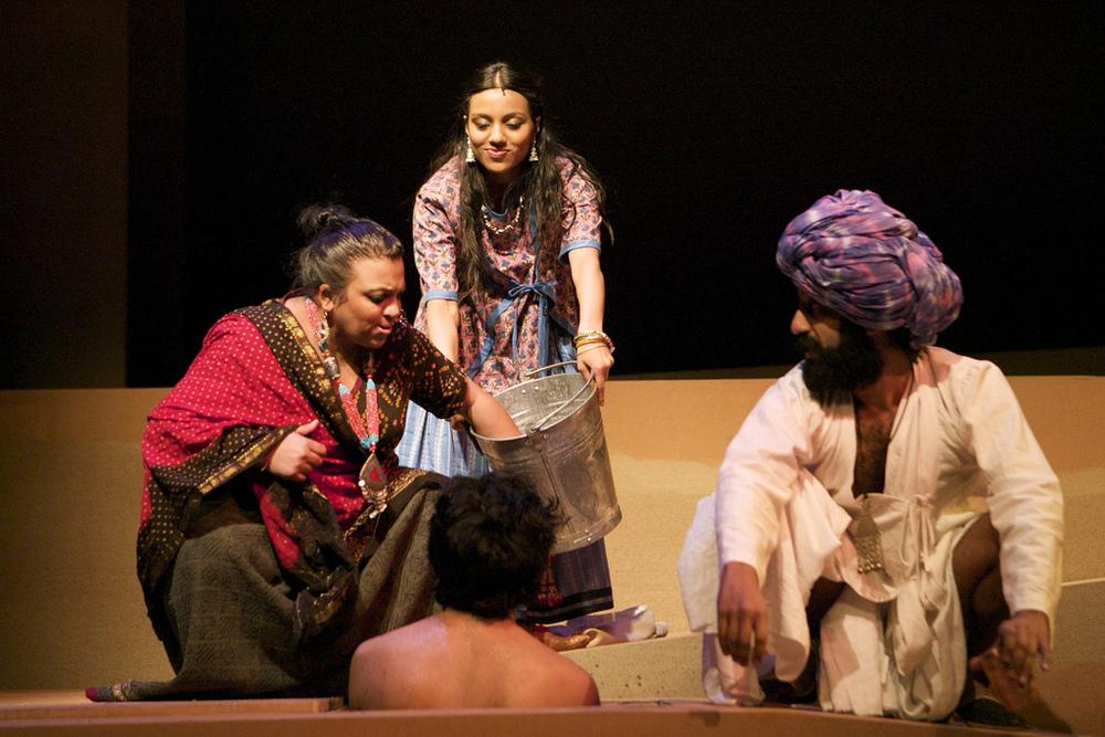 Rina Fatania (Ayah), Youkti Patel (Shakuntala) and Adeel Akhtar (Yusuf)