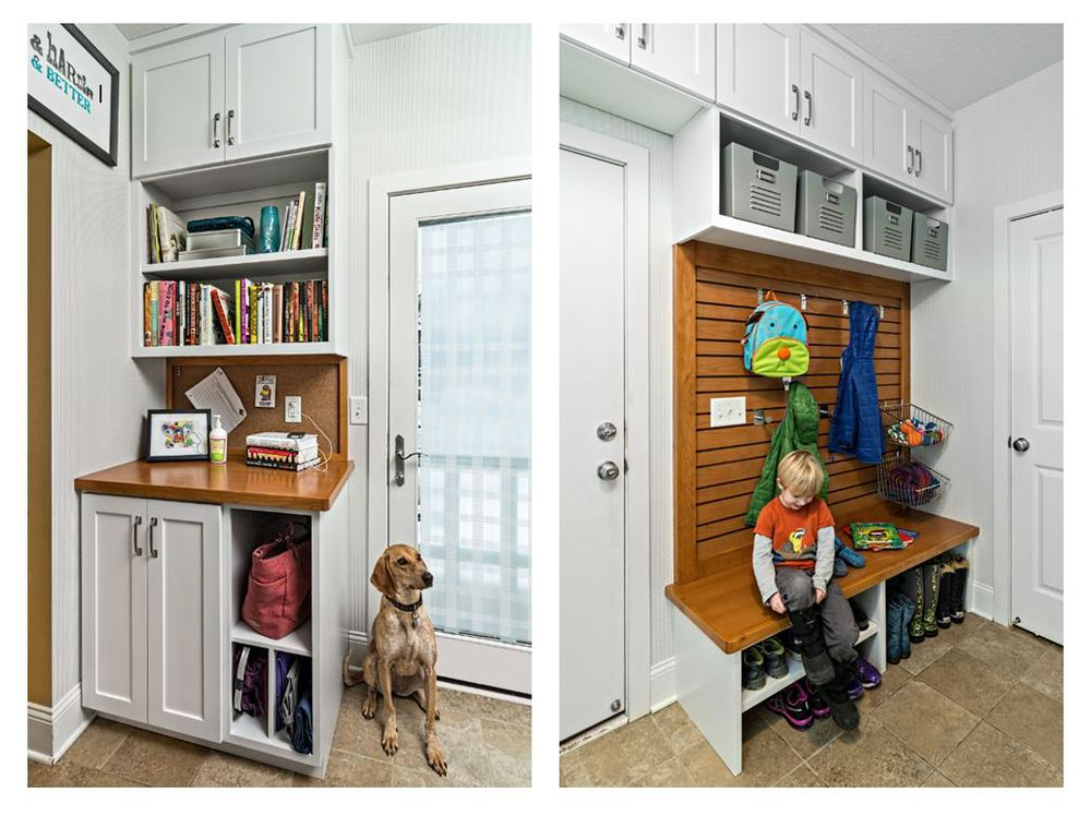 Revamped Mudroom  This mudroom had little storage and didn't accommodate the busy family's lifestyle.   Listening to our client's needs we were able to customize the space to make it a major hub spot in the home. The customization includes: bench to put on and store shoes, adjustable hooks that will adapt as the children grow, charging dock for phones, a purse cubby and a shelf for cookbooks. Also, lets not forget the many cabinets above, where it is typical to have a lot of lost space.