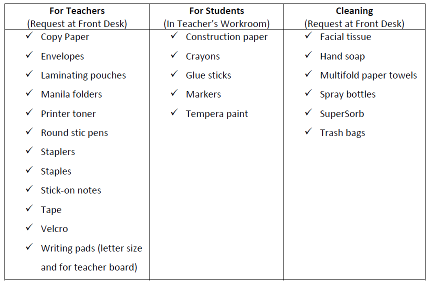 student supplies that are not kept in inventory and need to be special ordered see examples below please use the supply order form click hyperlink - Supply Request Form