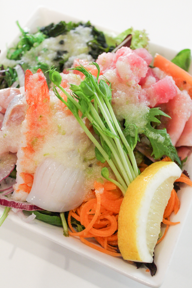 Sashimi & Salmon Salad - Fresh Salmon, King Fish, Prawn, Squid, Seaweed and Apple Dressing ($11.50)
