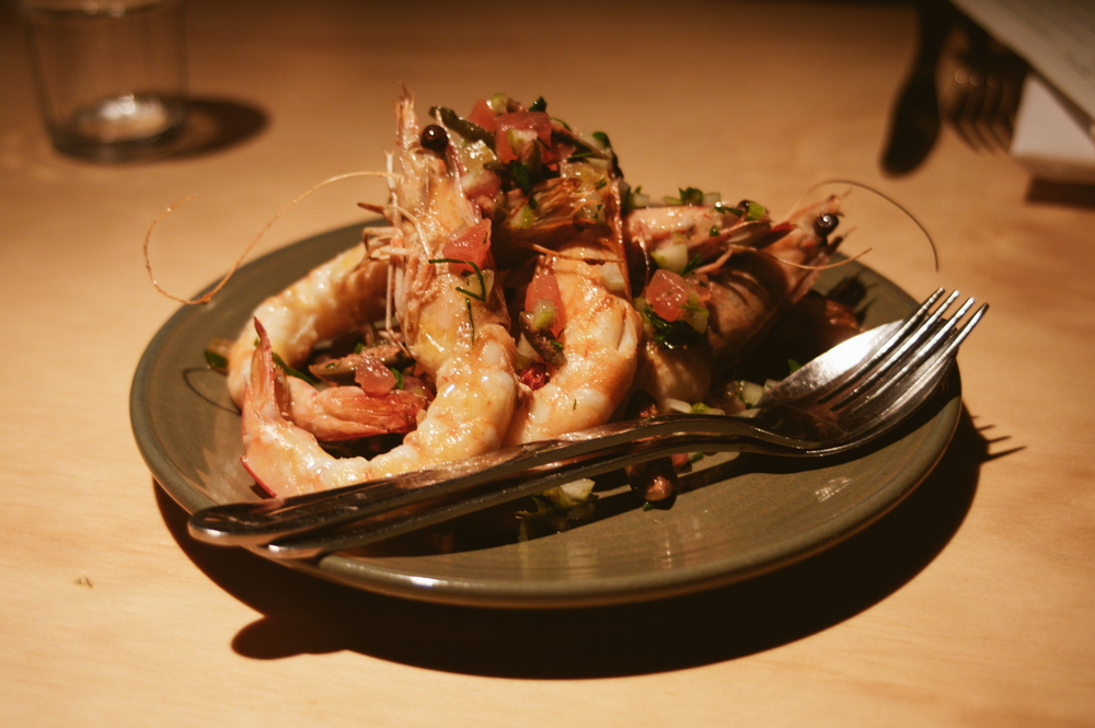 Second Course: Prawns, Celery, Gherkin, Olive and Tomato.