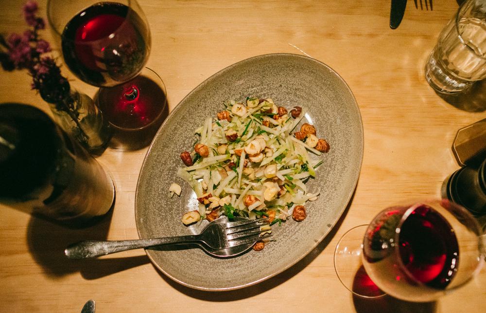 Salad of Fresh Balingup Hazelnuts, Fennel & Pear ($17.00) and a freshly opened bottle of Amato Nero D'avola 2013 ($52.00)