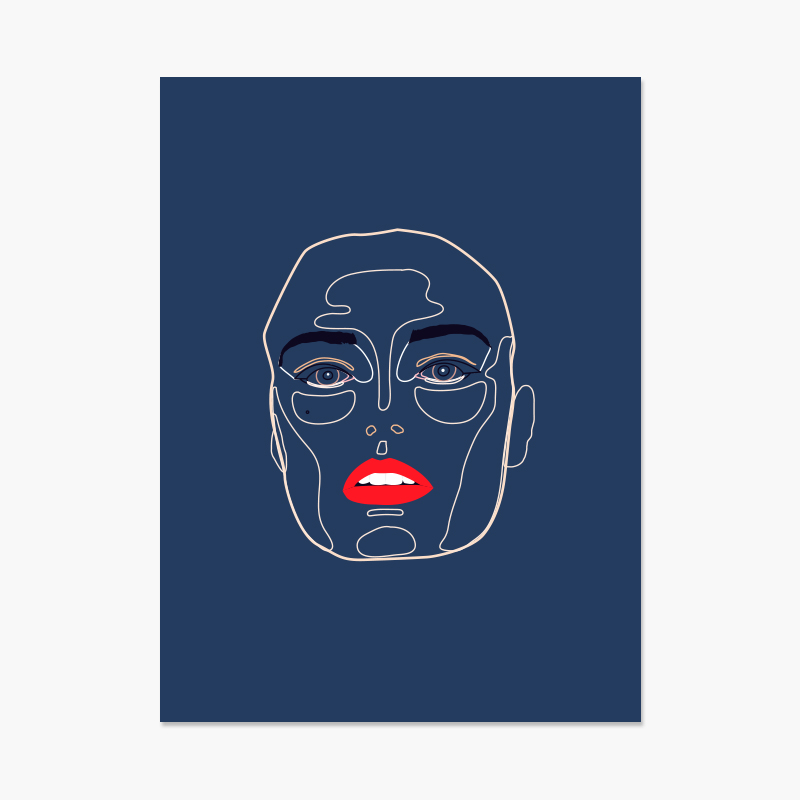 Outline Face 18x24 Poster