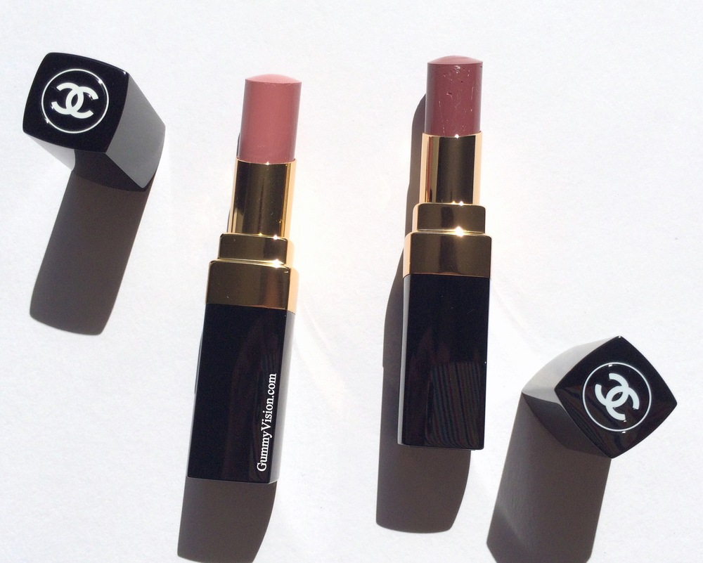 Chanel Rouge Coco Shine in 93 Intime (L) & 94 Confident (R)