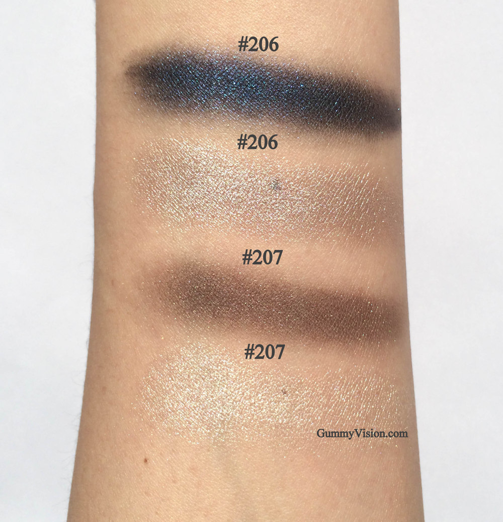 Kevyn Aucoin Eyeshadow Duos in #206 & #207 - sunlight, heavy swatches