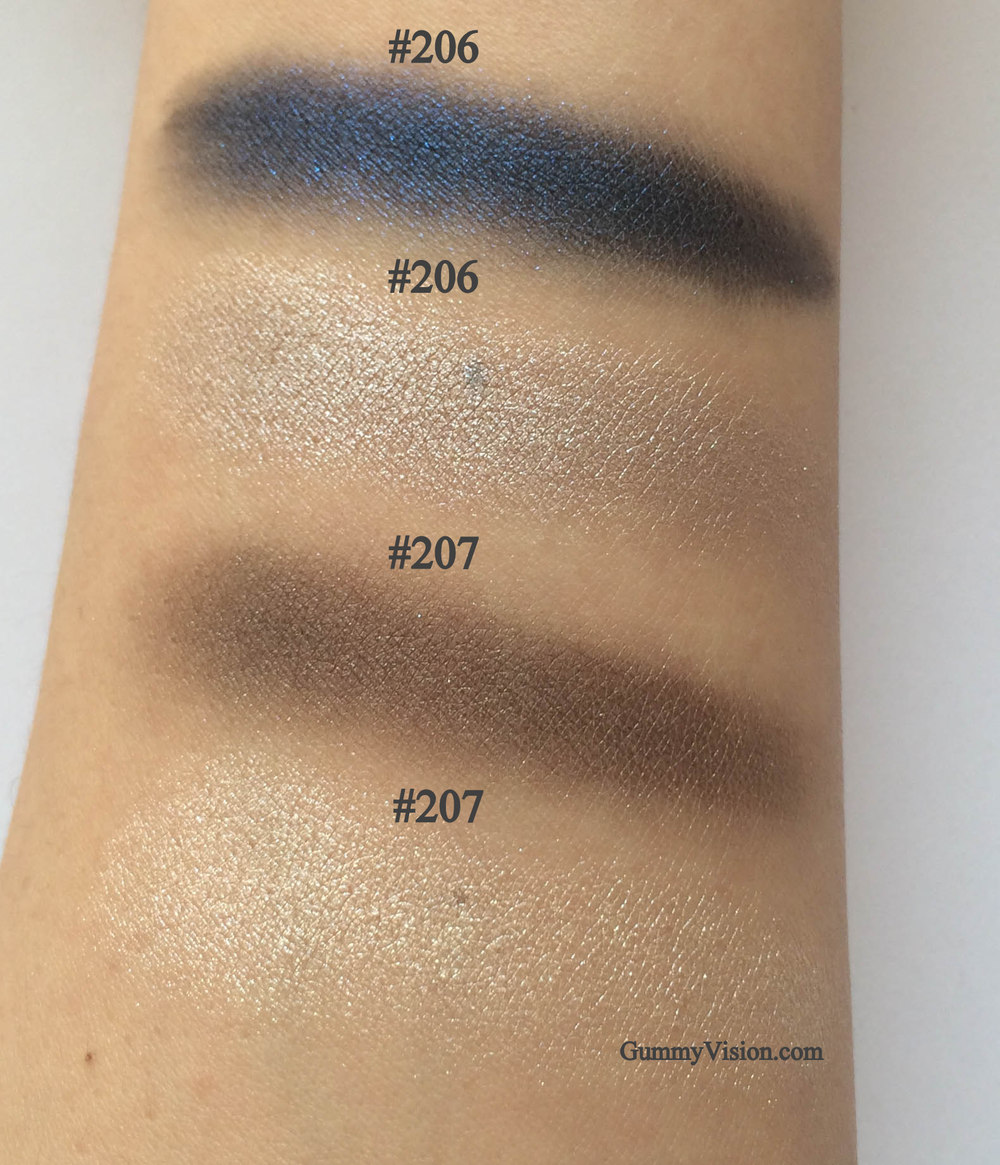 Kevyn Aucoin Eyeshadow Duos in #206 & #207 - shade, heavy swatches