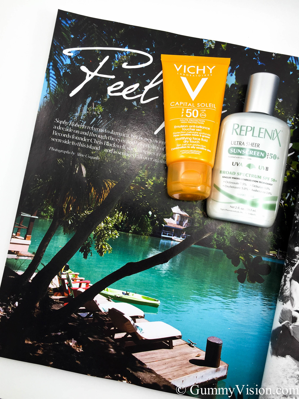 Vichy Capital Soleil Mattifying Face Fluid Dry Touch SPF50 (European version) & Replenix Ultra Sheer Sunscreen SPF50+. Magazine is Net-A-Porter Fall 2014.