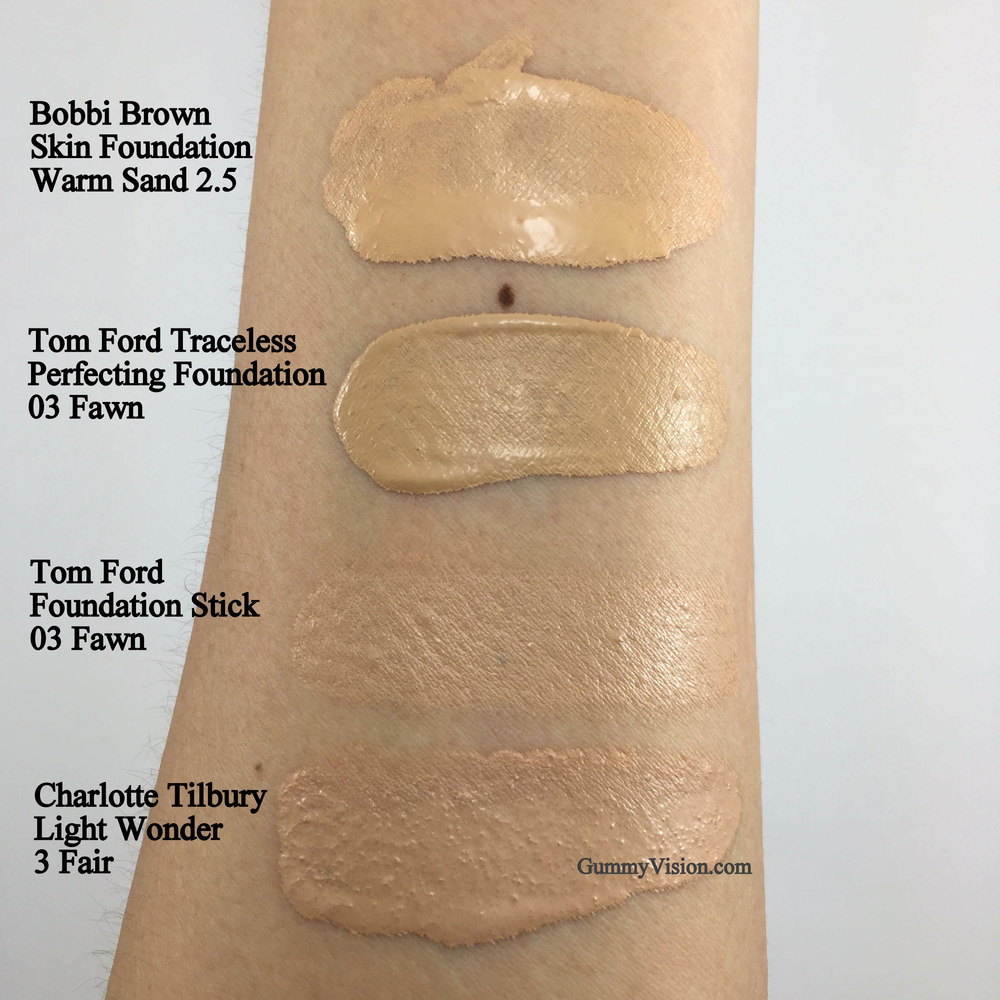 Bobbi Brown Skin Foundation in Warm Sand 2.5, Tom Ford Traceless Perfecting Foundation SPF15 in 03 Fawn, Tom Ford Traceless Foundation Stick in 03 Fawn - My best, near spot on match,   Charlotte Tilbury Light Wonder in 03 Fair - www.gummyvision.com