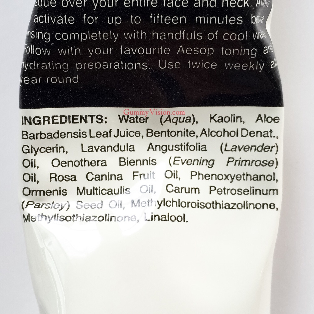 Aesop Parsley Seed Cleansing Masque ingredients - gummyvision.com
