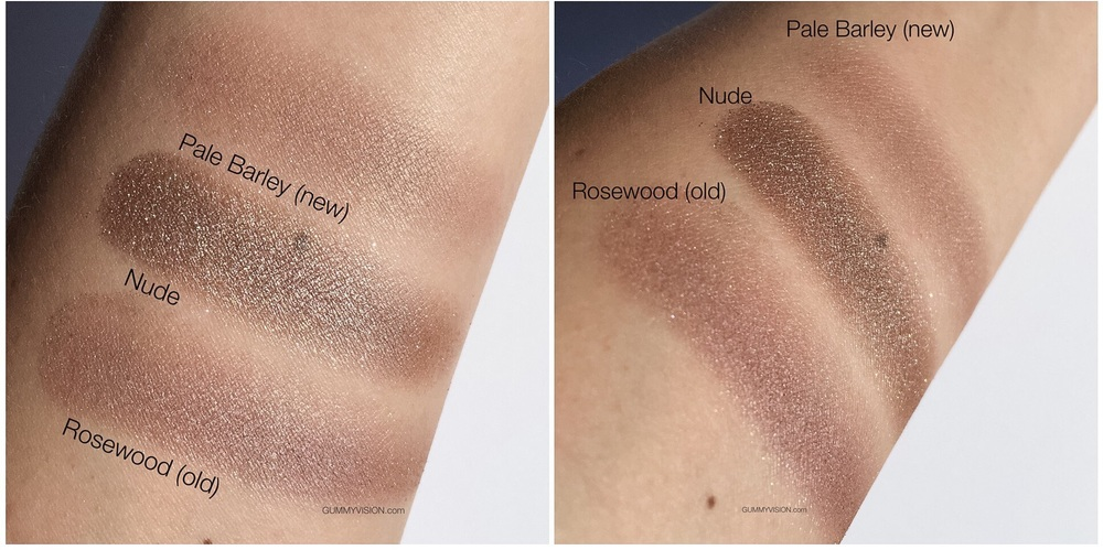 Sunlight swatches. Burberry Wet & Dry Glow Eyeshadow in 002 Nude compared to Pale Barley (new) and Rosewood (old) - gummyvision.com