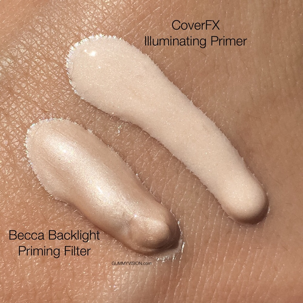 BECCA Backlight Priming Filter color vs. CoverFX Illuminating Primer color - gummyvision.com